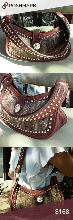 Double J Saddlery custom made gorgeous bag Vary thick genuine leather and fur,One of a kind,Preowned Double J Saddlery  Bags Shoulder Bags