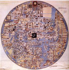 The Ebstorf map of the world, 1234. An elaborated version of the common medieval tripartite, or T and O, map, centered on Jerusalem with east at top. The head of Christ was depicted at the top of the map, with his hands on either side and his feet at the bottom. Rome is represented in the shape of a lion. The original was destroyed in 1943, during the bombing of Hanover in World War II.