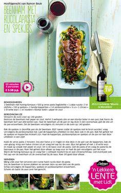 Beenham met rucolapasta en spekjes - Lenterecepten Hoofdgerecht