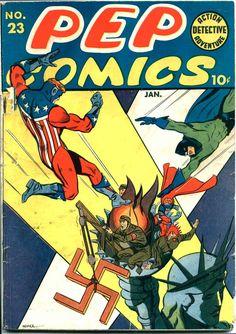 Pep Comics (Jan cover by Irv Novick. Dc Comic Books, Vintage Comic Books, Vintage Comics, Comic Book Covers, Comic Art, War Comics, Archie Comics, Pulp Fiction Comics, Classic Comics