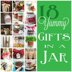 Make a treat with these 18 gifts in a jar, they make great homemade gifts.  www.skiptomylou.org #skiptomylou #holidaygifts