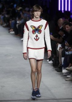 A model wears a #crochet sweater set for Gucci men's Spring-Summer 2016 collection, part of the Milan Fashion Week.