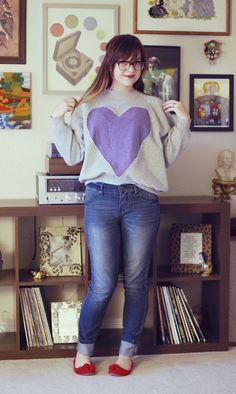 diy heart sweayshirt