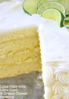 Lime Cake from Scratch - Delicious Homemade Lime Cake Recipe with Lime Curd & Cream Cheese Frosting! Recipe by MyCakeSch - Key Lime Kuchen, Food Cakes, Cupcake Cakes, Cupcakes, Just Desserts, Dessert Recipes, Key Lime Cake, Lime Recipes, Limes