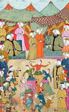 Ottoman School: Dance for Pleasure Sultan Ahmet III Art Print Middle Eastern Clothing, Empire Ottoman, Ottoman Turks, Persian Culture, Turkish Art, Outdoor Art, Animal Design, Islamic Art, African Art