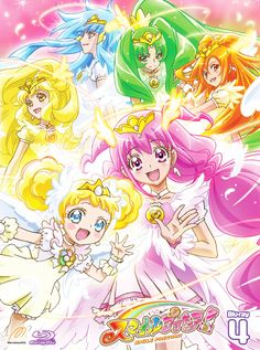 Happy/Miyuki, Sunny/Akane, Peace/Yayoi, March/Nao, Beauty/Reika, and Royale Candy/Sweet Royale/Ami/Candy
