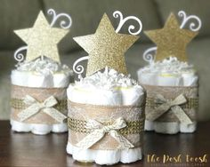 shower Together Centerpieces - Twinkle Twinkle Baby Shower Centerpiece, Twinkle Twinkle Diaper Cake, Baby Shower Decor Gift, Little Star Gold Lace Burlap, ONE 1 Tier Mini. Idee Baby Shower, Fiesta Baby Shower, Baby Shower Diapers, Baby Shower Themes, Baby Boy Shower, Baby Shower Gifts, Shower Ideas, Baby Shower Centerpieces Boy, Baby Shower Decorations Neutral