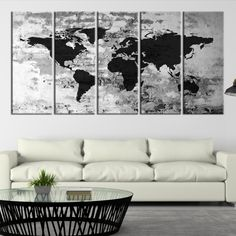 85341 large wall art world map canvas print custom world map push large wall art canvas print black world map on white old brick wall background gumiabroncs Image collections