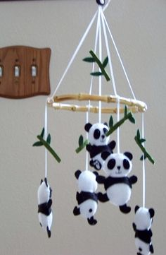 Baby Mobile  Baby Crib Mobile  Panda Mobile  by lollipopmoon, $60.00  - This would be so cute with deer instead