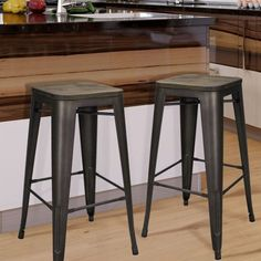 Bronze Metal Bar Stools With Wooden Seat (Set Of Two)