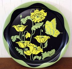 Vintage Black Metal Tray with Bright Yellow by LittleRedHenVINTAGE