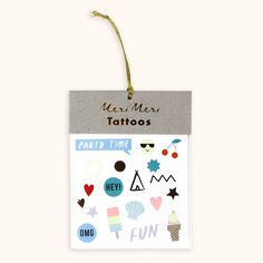 These fun temporary tattoos are decorated with bright shapes and slogans, embellished with shiny gold ...
