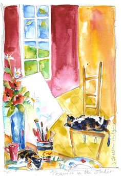 Lovely watercolor, and all the things I love, cats, windows, chairs, flowers and watercolors.