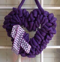 Burlap Wreath Epilepsy Awareness Wreath Door by JnSMDesigns