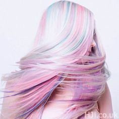 Platinum Blonde with Pastels, Cotton Candy, Mint, Lilac, Sky Blue.