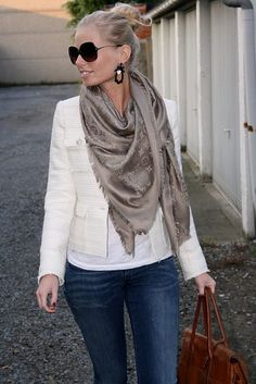 White leather jacket & Jeans with neutral scarf. Casual yet sophisticated.
