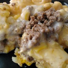 """Tater Tot Shepard's Pie Casserole...some call this """"White Trash Casserole""""."""