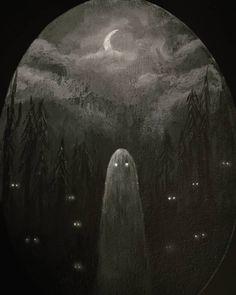"Lore Martell on Instagram: ""18. #willofthewisp 19. #hauntedforest . . #mabsdrawlloweenclub2019 #drawlloween #inktober2019 #inktoberslp #acrylicpainting…"" Halloween Art, Halloween Themes, Haunted Forest, Halloween Illustration, Creepy Art, Inktober, Whimsical, Mystery, Pets"