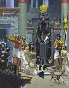 """egypt-museum: """" Feeding Cats in an Ancient Egyptian temple Servants feeding cats in an ancient Egyptian temple, (gouache on paper). Illustration by Angus McBride (British, """" Cats In Ancient Egypt, Ancient Egypt History, Old Egypt, Egypt Cat, Ancient Aliens, Ancient Greece, Ancient Egyptian Cities, Ancient Egypt Pharaohs, Egyptian Temple"""