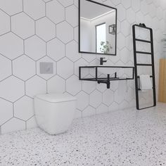 Hexagonal Wall Tiles X Hexagon White Hexagonal Bathroom Wall Tiles Uk Hexagonal Wall Tiles Bathroom Hexagon Tile Bathroom, Bathroom Tile Designs, Hexagon Tiles, Modern Bathroom Design, Modern Bathrooms, Small Bathrooms, Beautiful Bathrooms, Terrazzo Flooring, Bathroom Flooring