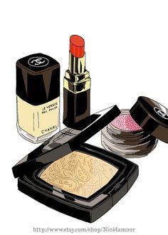 Chanel Make up Set, Nail Polish, Powder, Labial Stick, Download Digital Image Art, No. 22 via Etsy