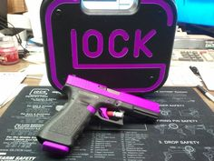 Hot Purple - Glock 17 Handgun w/Custom Box Revolver, Purple Gun, Glock Girl, Custom Guns, Glock 17 Custom, Cool Guns, Guns And Ammo, Concealed Carry, My Guy