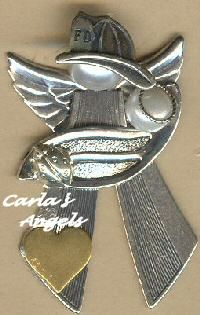 Firefighter with baby angel pin. - $19.95