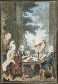 Musick-making al fresco - with horn, oboe, cello, violin and voice? What were they playing?