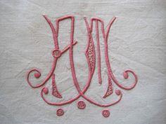 Delightful unused French vintage metis linen sheet with AM monogram and decorative ladderwork return. £36.00, via Etsy.