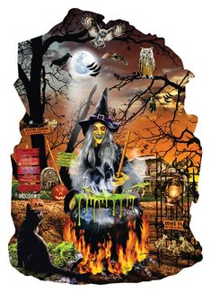 Witch's Brew Shaped 1000 Piece Jigsaw Puzzle by SunsOut - Halloween Theme Puzzl Halloween Puzzles, Halloween Images, Halloween Signs, Halloween Art, Halloween Themes, Vintage Halloween, Halloween Witches, Halloween Stuff, Halloween Rocks