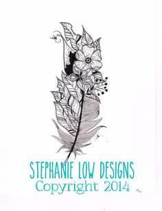 Tattoo Design as is Feather with delicate little por SlowDesigns