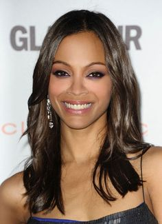 Zoe Saldana adds incredible shine to bring out her Dark Brown Chestnut #haircolor. Read easy ways to get #shiny #hair here: http://www.esalon.com/blog/add-shine-to-any-hair-type/