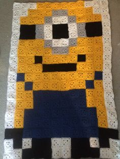 Despicable Me Bit One Eye Minion Crochet Granny Square Afghan Made From 2 3/4 Inch Yarn Squares Stitched Together on Etsy, $881.00