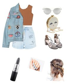 """Dominant 💎Denim&Grey"" by cansu-celebi on Polyvore featuring moda, New Look, House of Harlow 1960, Samuji, Chicnova Fashion ve MAC Cosmetics"