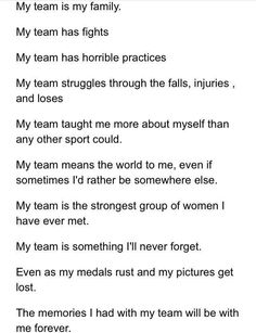 cheer quotes My cheer team is my family- and it should say strongest men and women because boys cheer too Teammate Quotes, Team Quotes, Cheer Quotes, Volleyball Quotes, Basketball Quotes, Volleyball Team, Sport Quotes, Basketball Teams, Family Quotes