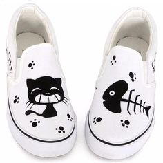 Cat and Fish Bone Slip On Canvas Sneakers