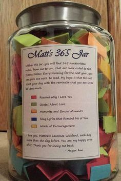Hubby 365 jar cute boyfriend presents, boyfriend stuff, christmas gift for Birthday Surprise Boyfriend, Boyfriend Anniversary Gifts, 1 Year Anniversary Gift Ideas For Him, Girlfriend Birthday Gifts, Homemade Anniversary Gifts, Romantic Boyfriend Birthday Ideas, Diy Anniversary Gifts For Her, Romantic Gifts For Boyfriend, Anniversary Crafts