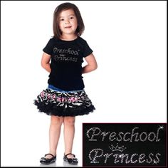 PERFECT FOR 1ST DAY OF PRESCHOOL! Preschool Princess Rhinestone Tee-Preschool Princess Rhinestone Tee,toddler tshirt for girls,bling tee,twinkling tees,back to school shirt