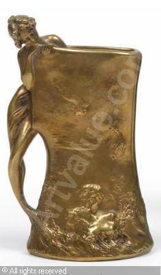 Ars Nouveau Bronzes Charles (Karl) Korschann (Czech 1872-1943) Dore' bronze,Vase mit Meerjungfrau, Dorotheum,Vienne