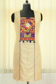 Smart and stylish Silk Kurti With Kutch Embroidery.
