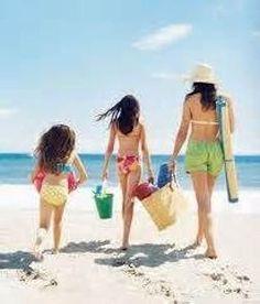 Family with beach toys