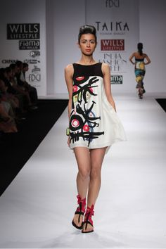 Dress from Taika by Poonam Bhagat inspired by artist Joan Miro. Quirky and Vibrant. at the Will India Fashion Week.