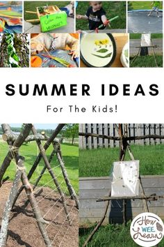 these are fun and easy summer ideas for the kids to do in the backyard! Great for toddlers, preschoolers and big kids as well. These summer crafts and activities will keep the kids outside all summer long! Outdoor Activities For Toddlers, Outdoor Fun For Kids, Creative Activities For Kids, Kids Learning Activities, Summer Activities For Kids, Infant Activities, Outdoor Play, Teaching Ideas, Cool Forts