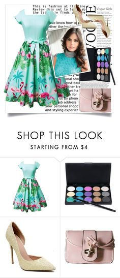 Flamingo and Floral Print Square Neck Vintage Dress 43 by blagica92 on Polyvore featuring Balmain, vintage, dress, party, print, partydress and holidays
