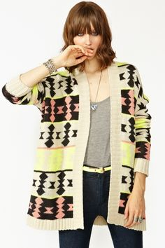 OH MAH GAWD MUST HAVE!! neon + tribal = <3 | Azteca Knit Cardi