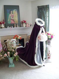 Grape Purple / Platinum Satin Bridal Cape 56 by capeandcrown13, $159.00