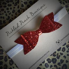 Valentine Bow Large Red Glitter Bow by pickledpeachbowtique