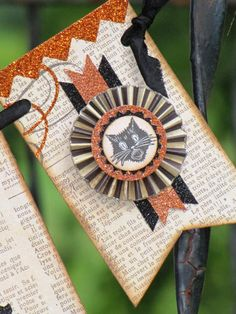 Vintage Halloween Inspired  SPOOKY Banner Garland Victorian Paper Rosettes Cream Black Scaredy CAT
