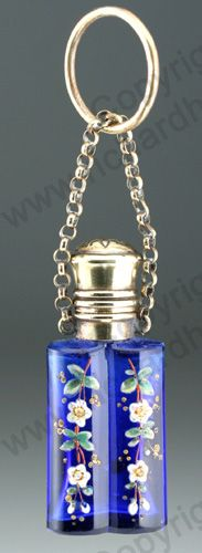 ANTIQUE & VINTAGE SCENT PERFUME BOTTLES. English enamelled cobalt, brass top & suspensory chain, mid to later 19th century.