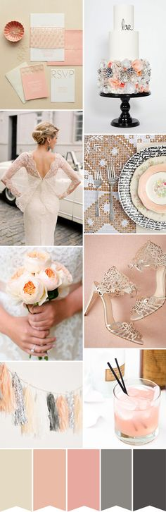 A Peach and Cream wedding colour palette with a little added modern edginess of some steely grey...